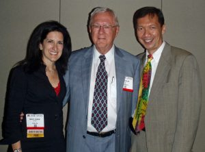 Dr. Meryl Cohen (left) and Dr. Leo Lopez (right) with Pediatric Founders' Award recipient Hugh Allen, MD (center)